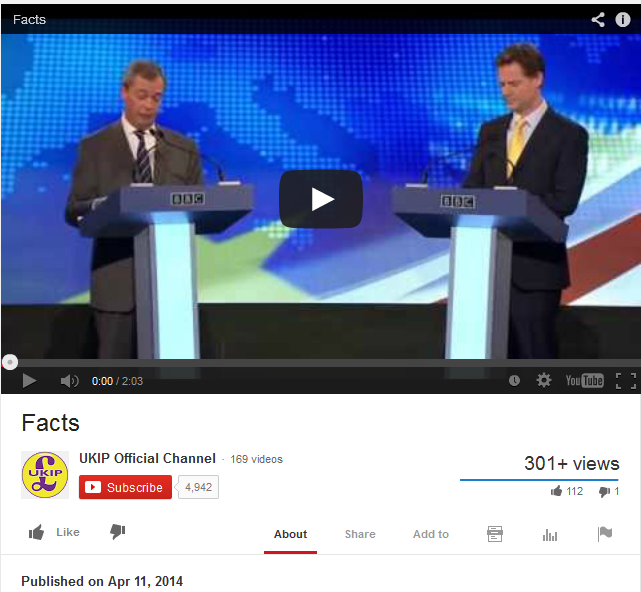 Screenshot of UKIPFacts Youtube video, now made private/removed.