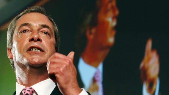 The leader of the UK Independence Party, Nigel Farage, makes his keynote speech at the party's annual conference in central London