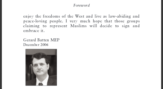 Batten wrote the foreword to Sam Solomon's 'A Proposed Charter Of Muslim Understanding', published in 2006.