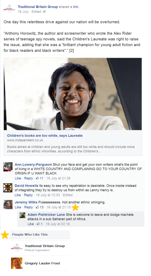 Racist comments under a TBG post about Malorie Blackman, on eof which is 'liked' by the TBG admin AND Lauder-Frost's personal account.