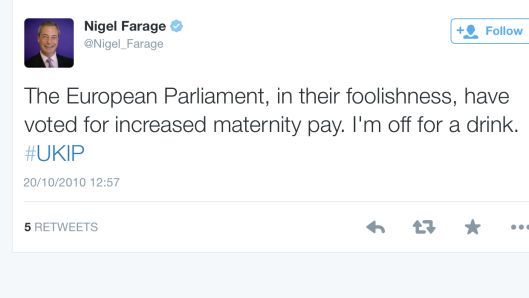 Nigel Farage showing his disapproval for increased maternity pay in a 2010 Tweet.