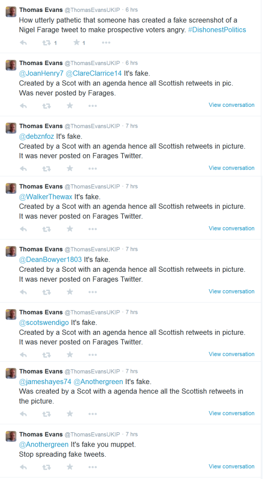 Thomas Evans alleging that the screenshot in LiberalIsland's blog was faked.  Eight times.
