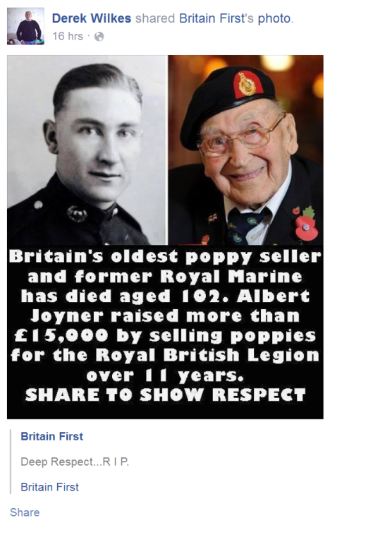 Derek Wilkes sharing a Britain First post on Facebook.