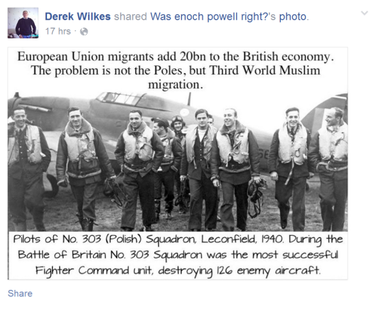 Wilkes sharing a meme by 'Was enoch powell right?' that contradicts UKIP.