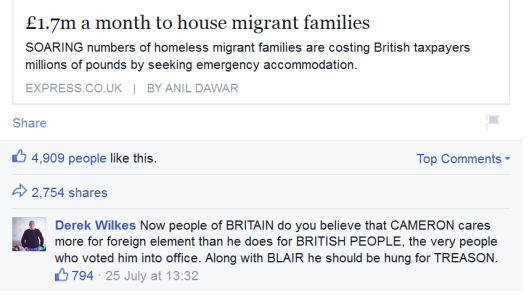 Wilkes calling for 'hanging by treason' on the official UKIP page.  He got almost 800 likes.