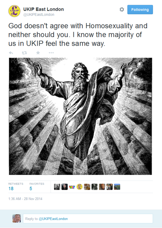 FireShot Screen Capture #052 - 'UKIP East London on Twitter_ _God doesn't agree with Homosexuality and neither should you_ I know the majority of us in UKIP feel the same way_ http___t_co_Z6uZV7W36j_' - twitter_com_UK