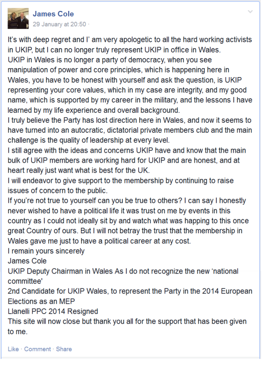 James Cole resigns with a parting shot at UKIP Wales.