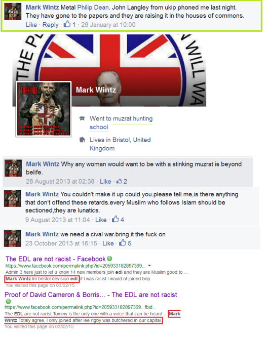 Mike Wintz is openly EDL and writes of 'musrats'. Why would UKIP Bristol's deputy chairman phone him?