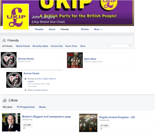 John Langley has EDL profiles in his friends list.  Also, he has Pegida and a controversial page in his likes.