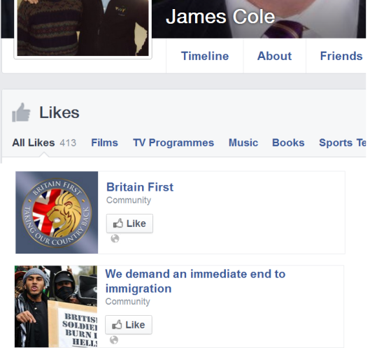 James Cole 'likes' far-right pages.