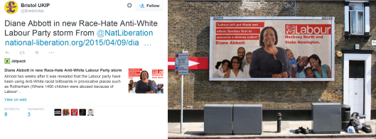 Bristol UKIP reTweeting (left) an article by Bonehill, which includes a fake Labour poster (right)