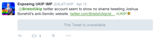 SLATUKIP sharing the second time that @BristolUKIP shared Bonehill's article (deleted).