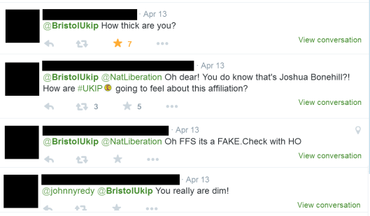 Twitter users react to the SECOND posting of Bonehill's article by Bristol UKIP.