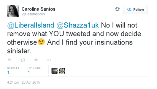 UKIP PPC Caroline Santos refuses to delete a picture of LiberalIsland's child.